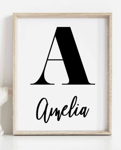 Custom Name and Initial Wall Art Print Personalised Letter Name Poster Decor