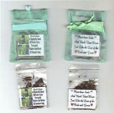 WEDDING 25 MINT GREEN ORGANZA WEDDING FAVORS-MIXED BUTTERFLY BUSH SEEDS + POEM