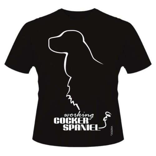 Round-Neck Style Dogeria Design Working Cocker Spaniel Dog Breed T-Shirts