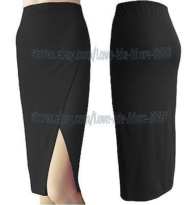 NEW Womens High Waist Thigh High Slit Split slim bodycon Pencil Work Skirt Dress