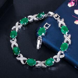 CWWZircons CZ Emerald Green Crystal Charm Bracelets for Women Costume Jewelry