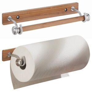 interdesign formbu paper towel holder for kitchen wall mount bamboo brushed ebay. Black Bedroom Furniture Sets. Home Design Ideas