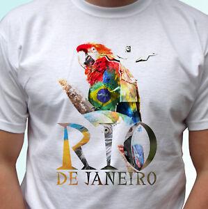 e0ed3d7a29a4 Rio De Janeiro white t shirt parrot tee top Brazil design mens ...