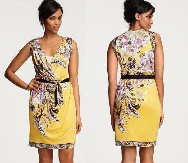 298 Elie Tahari  Heidi Seda Jersey Vestido Estampado En Amarillo L  venta al por mayor barato