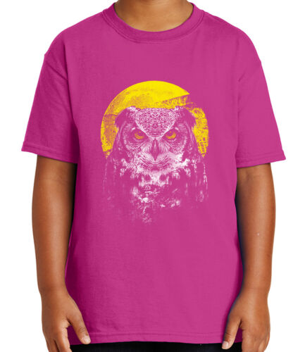 Night Owl Kid/'s T-shirt Full Moon and Wild Owl Tee for Youth 1468C