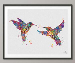 Hummingbirds-Watercolor-Print-Wedding-Gift-Wall-Art-Hummingbird-Print-Animal-Art