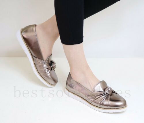 Womens Flat Chunky Sole Loafers Slip On Twist Bow Embellished Pumps Comfy Shoes