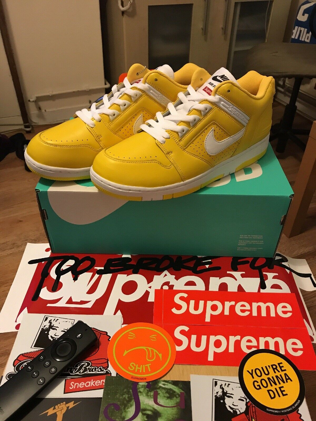 Supreme X Nike AF2 Low Yellow Yellow Low a2eaa8