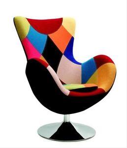MODERN SWIVEL CHAIR MULTICOLOURED EGG DINING LIVING ROOM OFFICE ...
