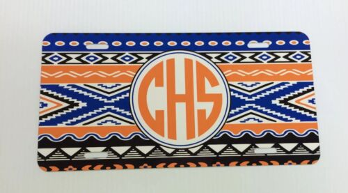 Aztec Pattern New Car Tag Any Color Monogram Initials Personalized License Plate