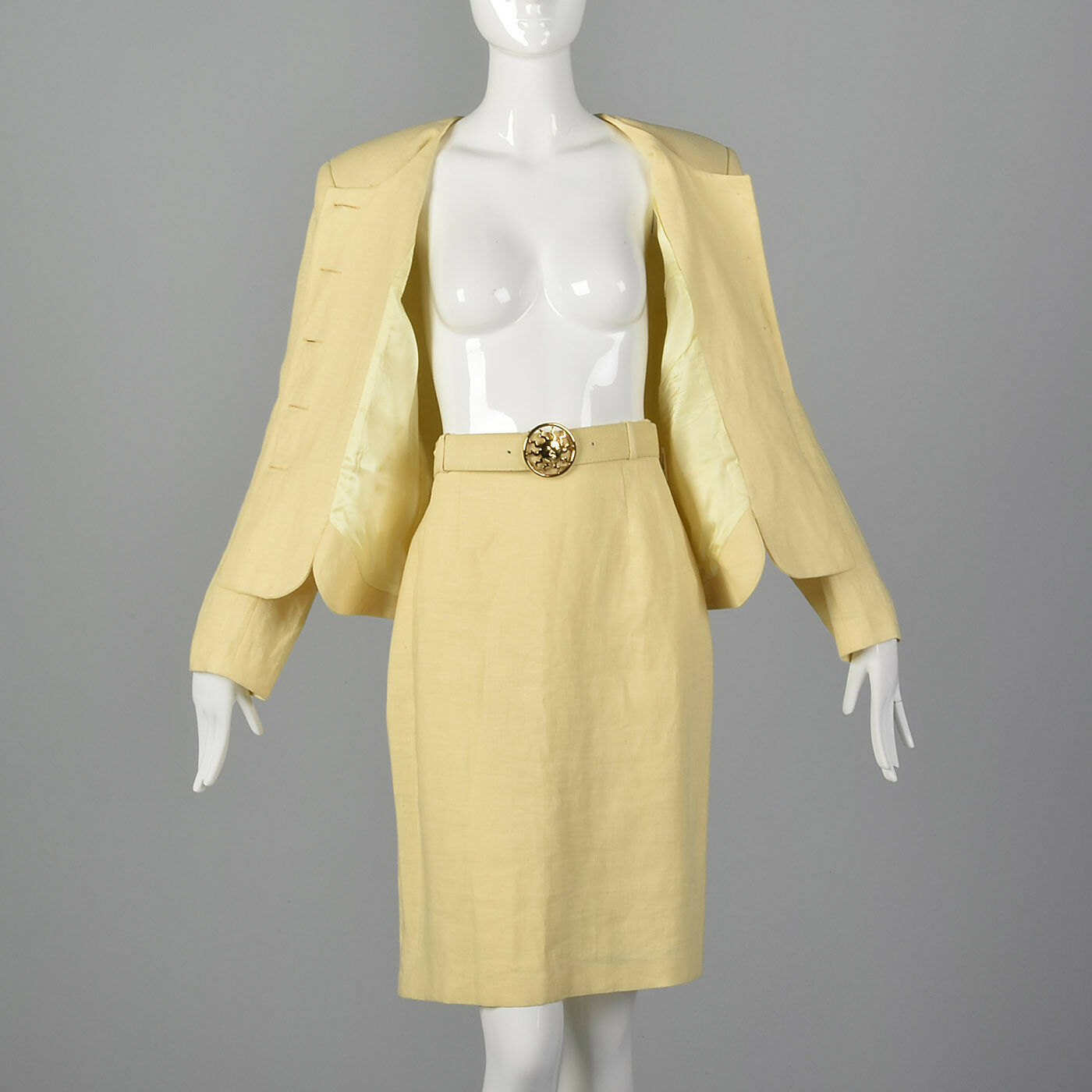 M 1990s Moschino Cheap & Chic Yellow Linen Suit S… - image 4