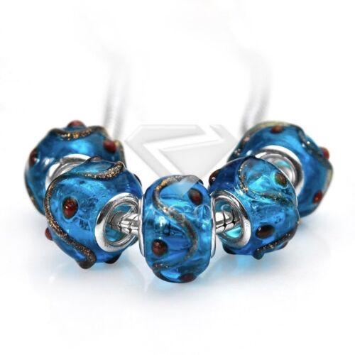 5stk.Muranoglas Perlen Lampwork Großlochperlen European Beads 14x10mm POLB0127