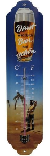 Metall Thermometer Durst wird durch Bier erst schön 28 x 6,5 cm Beer BlechTM03