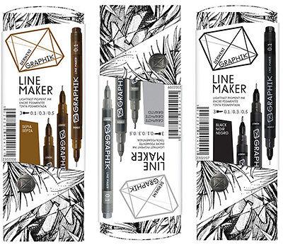 Derwent Graphik Line Maker Pen Set of 3 - BLACK GRAPHITE or SEPIA