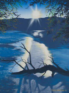 Original Acrylic Painting of a Flooded River 18x24 Landscape by Timothy Stanford