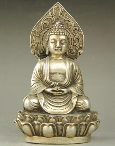Old Tibet Silver Buddhism Sakyamuni Amitabha Buddha Statue