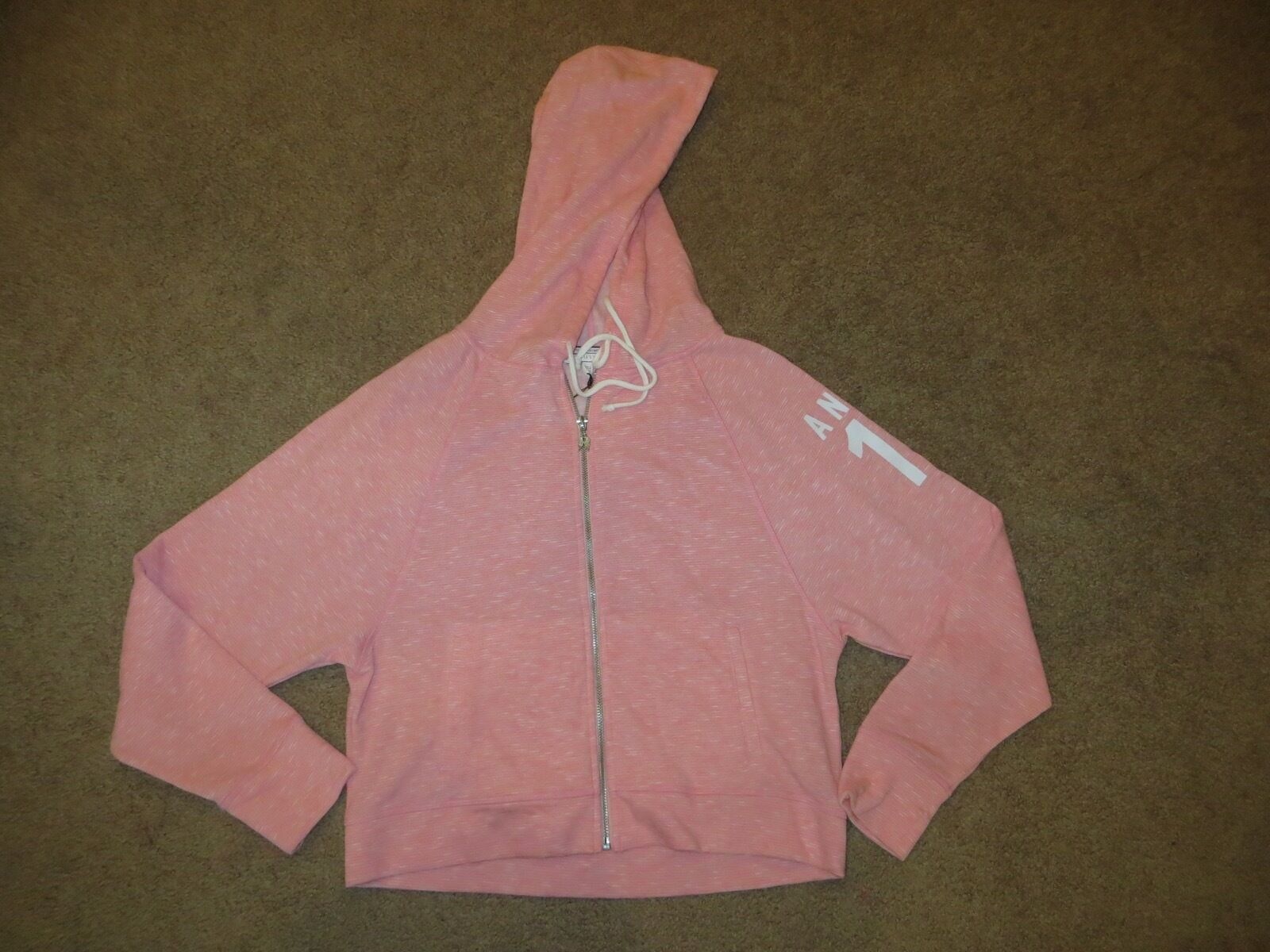 VICTORIA'S SECRET SUPERMODEL ESSENTIALS PINK STRIPE ANGEL 10 CROP HOODIE NWT S
