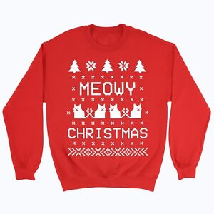 Meowy Christmas.Details About Meowy Christmas Jumper Sweater Top Winter Merry Xmas Cat Gift Crazy Lady Kitten
