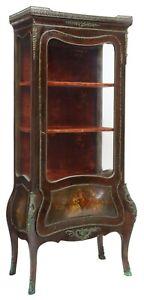 Antique Vitrine / Display Cabinet, French Vernis Martin Style, Mahogany, 1800's!