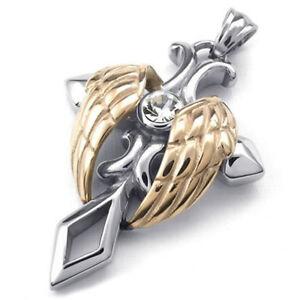Schmuck-Edelstahl-Engel-Fluegel-Kreuz-Anhaenger-mit-60cm-Kette-Halskette-f-I4R7