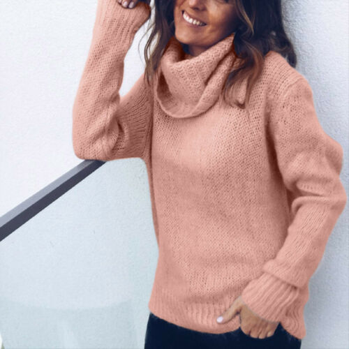 Hot Sale Women Turtleneck Baggy Tops Chunky Knitted Casual Loose Sweater Jumper