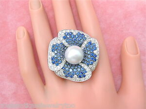 2.4ctw DIAMOND 4.5ctw SAPPHIRE 13.5mm SOUTH SEA PEARL JUMBO FLOWER COCKTAIL RING