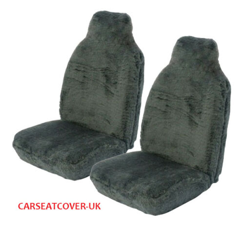 2014- Peugeot 108 Top Panther Grey Faux Fur Car Seat Covers 2 x Fronts