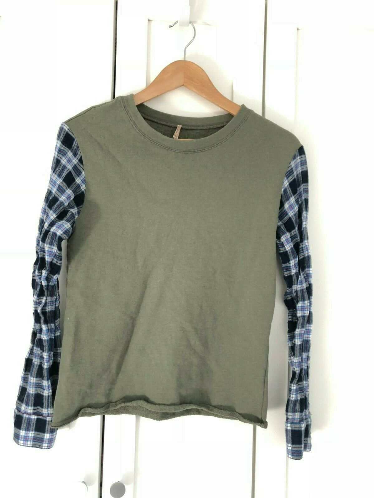 PETE Made in America Knit Top Blouse Olive Army Grün Blau Check Long Sleeve XS