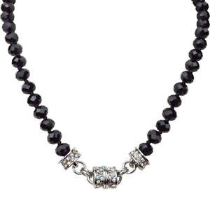 Kirks-Folly-Love-Potion-Beaded-Magnetic-Interchangable-Necklace-Silvertone-Black
