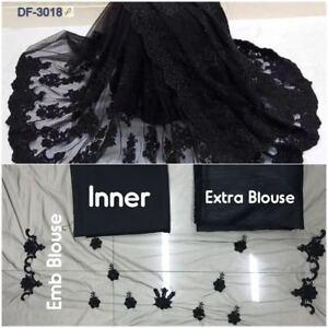 Saree Soft Net Sari Indian Blouse Designer New Party Wear Wedding Pakistani Work