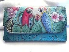 Anuschka Hand Painted Leather Tri-Fold Wallet w/RFID Protection,Brazilian Beauty
