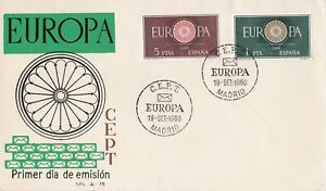EU99-Spain-1960-Europa-Stamps-On-First-Day-Cover