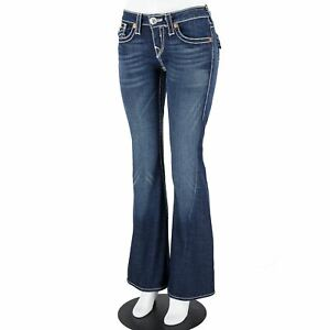 True Religion Dark Blue Washed Contrast Stitching Zip Fly Flare Jeans Size 29