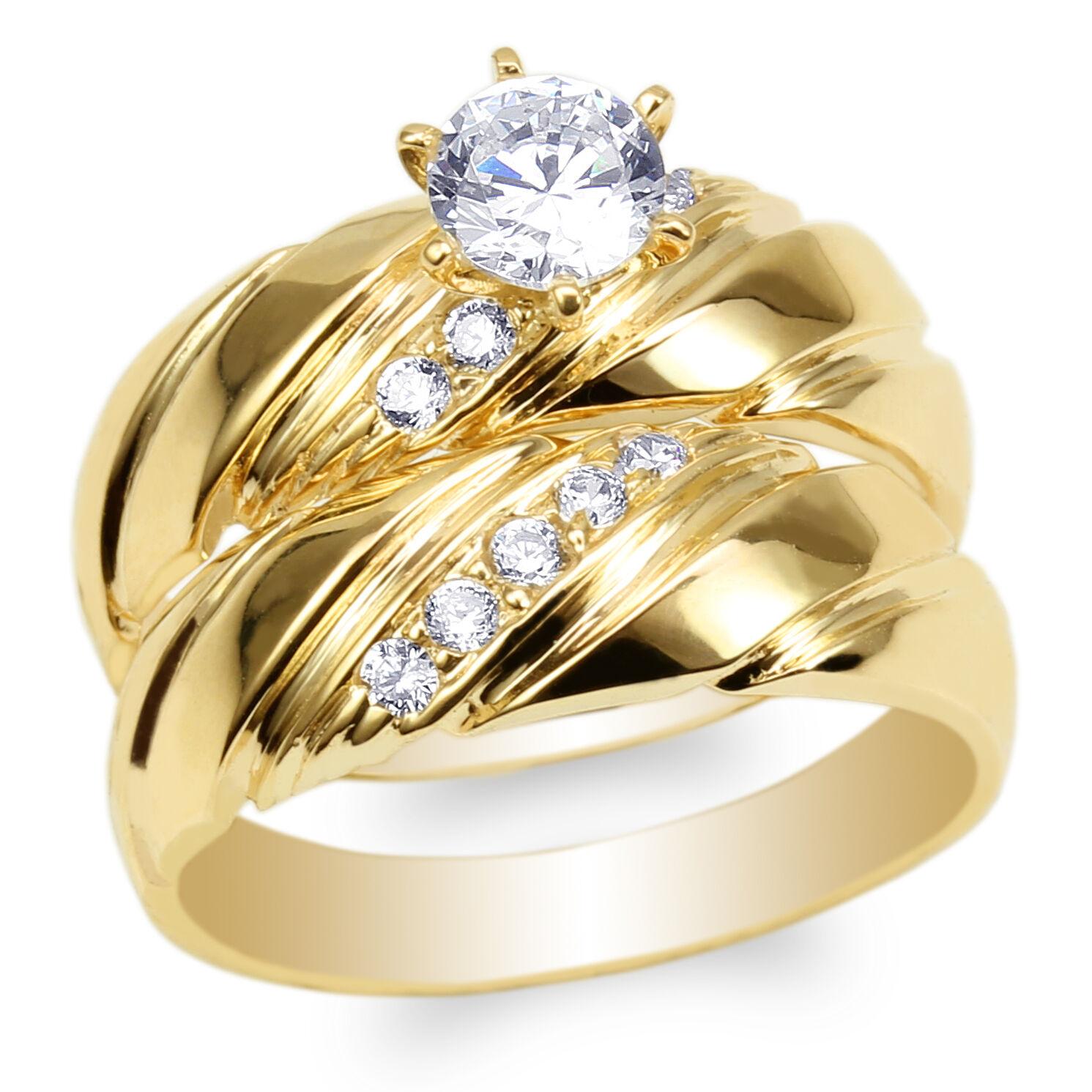 Womens Set Yellow gold Plated Round CZ Luxury Wedding Fashion Ring Size 4-10