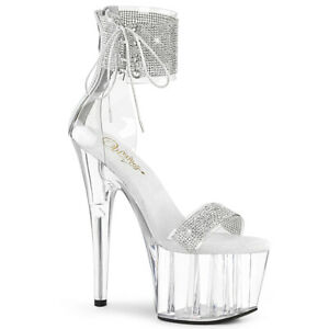 Pleaser-ADORE-727RS-Clear-Silver-Platform