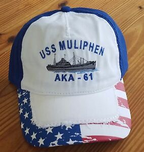 75fc5af30c4 Otto US Flag Cap with Distressed Visor USS Muliphen AKA-61 Logo 100 ...