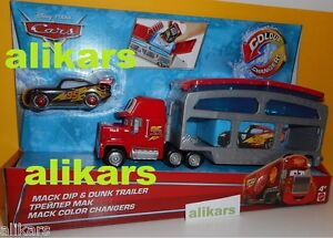 MACK-DIP-amp-DUNK-TRAILER-COLOUR-Changers-LIGHTNING-McQUEEN-Disney-Mattel-Cars