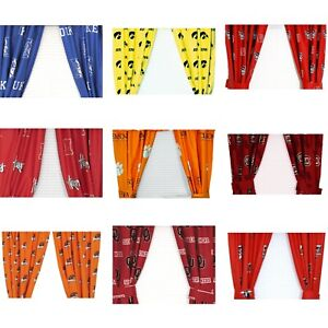 Details about NCAA College Drapes - Sports Logo Theme Bedroom Curtain  Panels - Pick Your Team