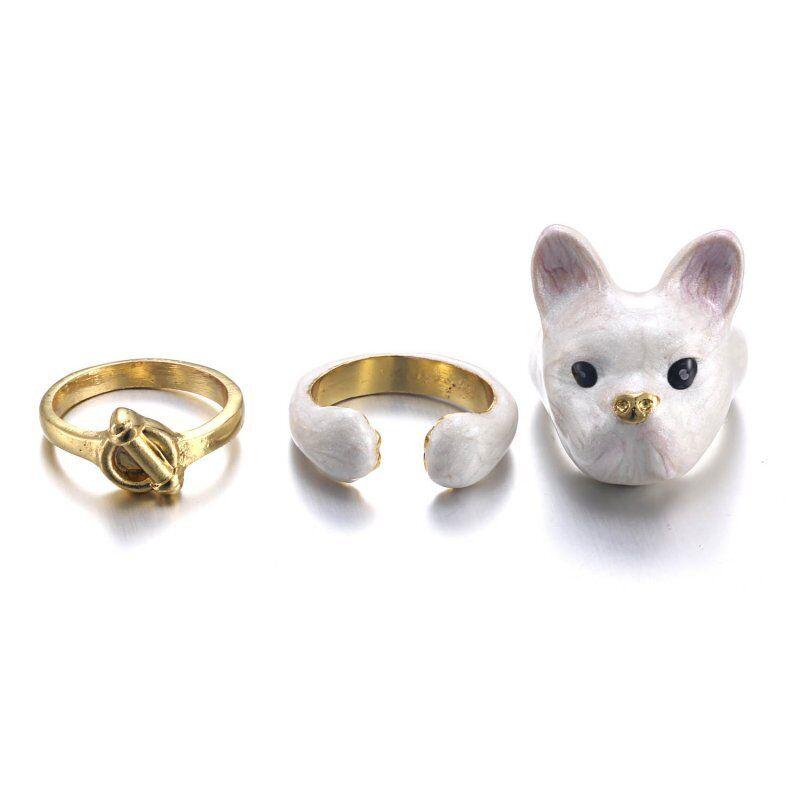Fashion 3pcs//set Chien Animal Chat Ouvert Knuckle Anneaux Femmes Bijoux Cadeau Nouveau