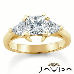 Real Diamond Engagement Trillion Princess Mount Ring 3 Stone 14k Yellow Gold 1Ct