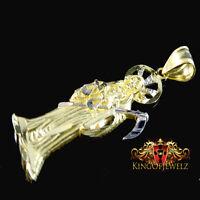 10k Yellow Gold Santisima Muerte Death Ripper Angel Of Death Pendant 1.70 Inch