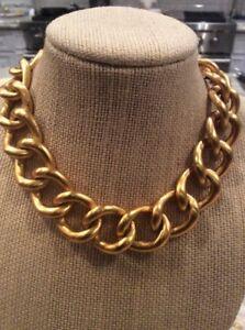 2766f4133 Beautiful Vtg AK Ann Klein Choker Gold Tone Links Toggle Necklace | eBay