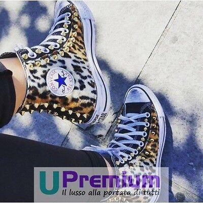 Converse All Star Black Black Leopard Shoes With Handmade Studs Man D | eBay