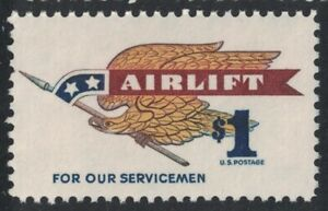 Scott 1341- $1 Airlift for Our Servicemen, Eagle Holding Pennant- MNH 1968- mint
