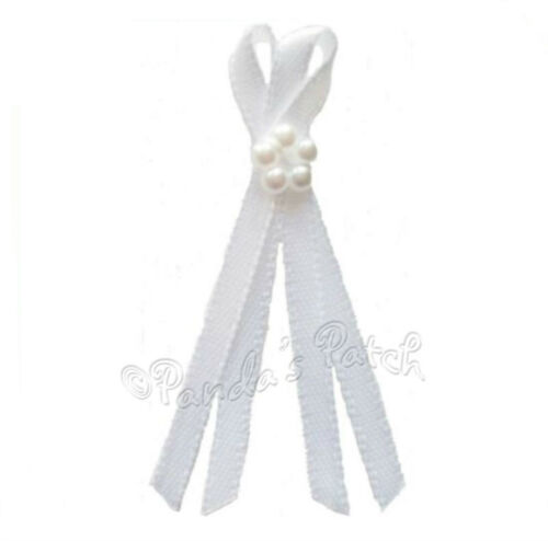 Choose Colour//Pk Size 3mm Satin or Lurex Ribbon Long Tail Bows 5 Pearl Beads