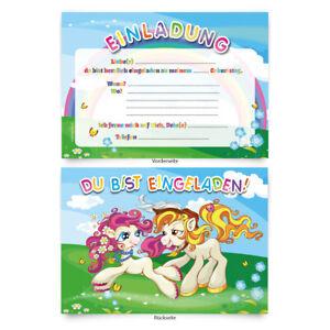 Einladungen-8-Stueck-034-Pony-034-zum-Geburtstag-Einladungskarten-Karten