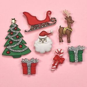 Buttons Galore Santa/'s on His Way 4815 Xmas Sleigh Reindeer Tag Dress It Up
