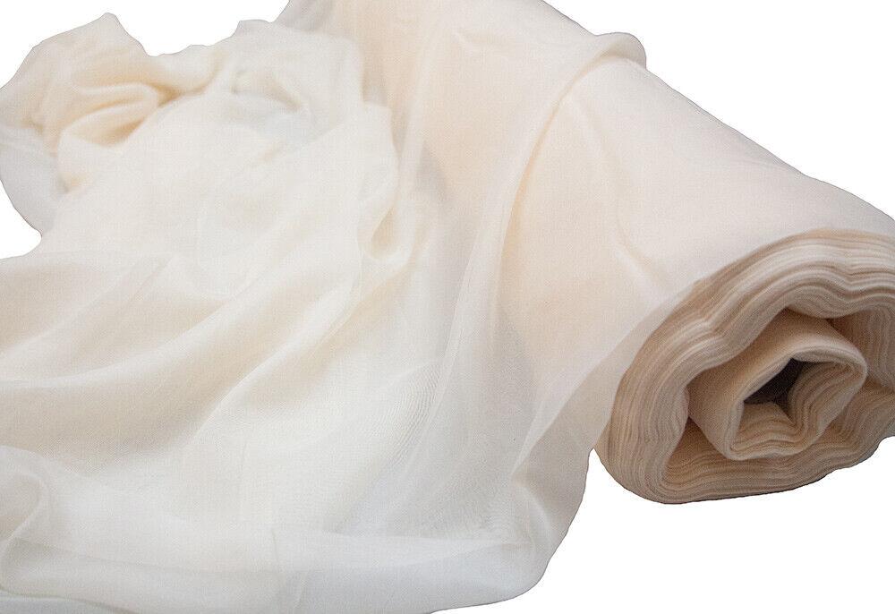 Ivoire voile Tissu ignifuge 2.8 m Largeur Vendu Par Rouleau de 26 m à 66 M swagging