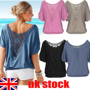 6a19d6c125c UK Womens Summer Loose T Shirt Short Sleeve Blouse Ladies Casual ...
