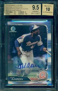 2019-Bowman-Chrome-Hank-Aaron-National-Wrapper-Red-Refractor-Auto-4-BGS-9-5-10